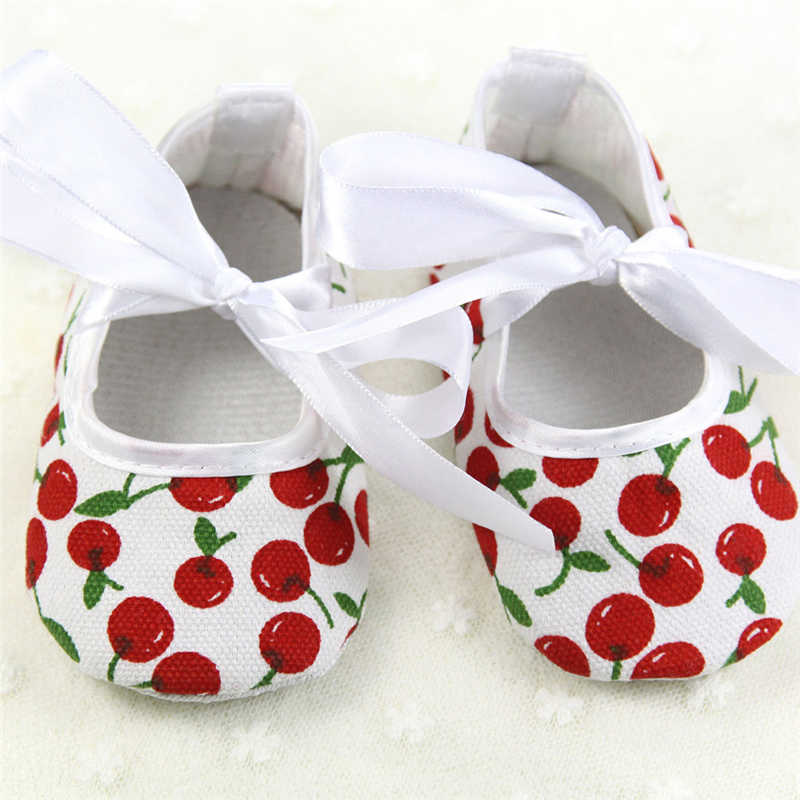 NEW Baby Shoes Summer Sping Newborn Cherry Dot Baby Girls Bowknot Dress Shoes Soft Sole Pram Anti-slip Prewalkers