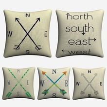 Compass North South East West Simple Cotton Linen Cushion Cover For Sofa Seat Car 45x45cm Throw Pillow Case Home Decor Almofada цена в Москве и Питере
