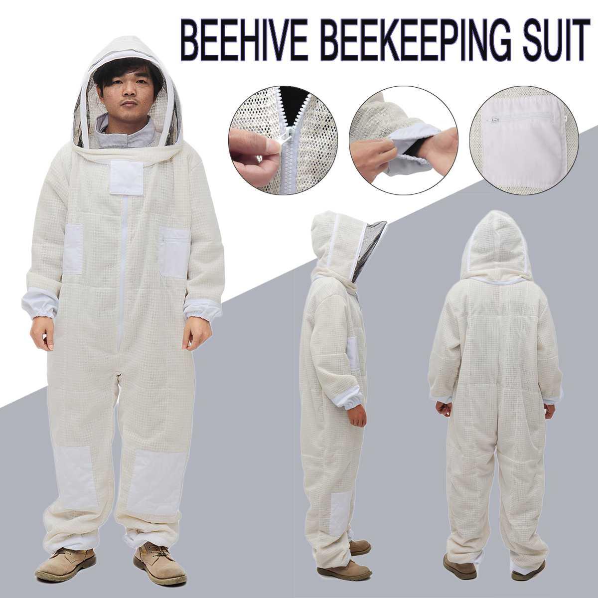 3 warstwy Full Body pszczelarstwo pszczelarstwo odzież welon kaptur kapelusz ubrania Jaket ochronna kombinezon pszczelarski beekeepers pszczoła garnitur sprzęt