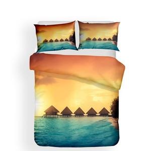 Image 2 - 寝具セット 3D プリント布団カバーベッドセット海波ホームテキスタイル大人のためのリアルな寝具枕 # HL08