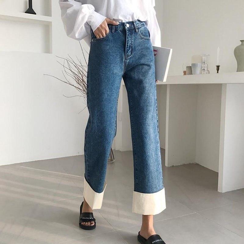 TWOTWINSTYLE الخريف ضرب اللون الأصفاد واسعة الساق الجينز المرأة عالية الخصر خليط الكاحل طول السراويل الإناث 2019 الكورية الأزياء المد-في جينز من ملابس نسائية على  مجموعة 2