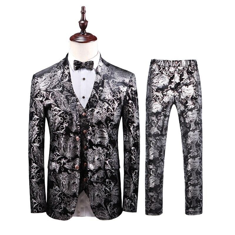 Blazer Men 2019 Mens Floral Suits Mens Business Formal Wear Tuxedo 3PC Men Suit Plus Size Wedding Dress Suit Men Costume Homme