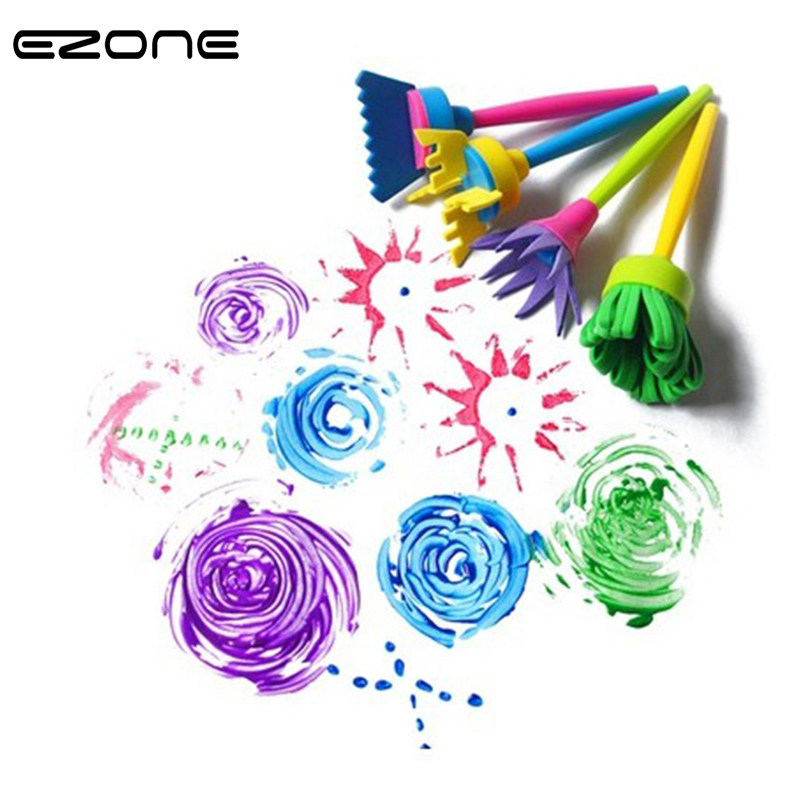 EZONE 4PCS Sponge Paint Brush Flower Shape For Kids DIY Graffiti Watercolor Sponge Painting Brush Art Toys Office School Supply