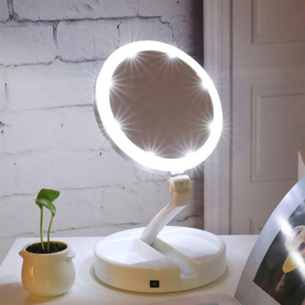 Tipode organismo maquillaje LED espejo de maquillaje iluminado vanidad compacto hacer bolsillo espejos vanidad cosméticos espejo de mano 10X lupa gafas