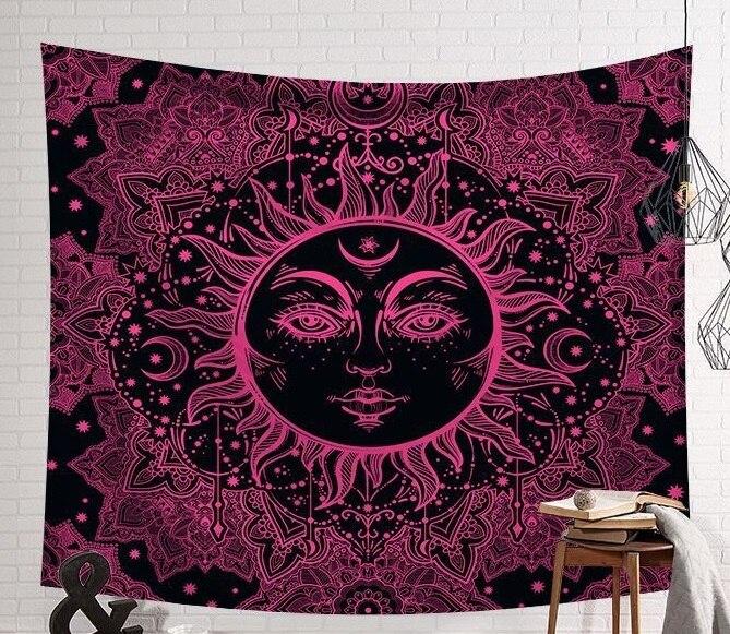 Totems soleil et lune étoiles rouge bleu blanc gris noir Mandala tapisserie à suspendre décorer mur Art chambre décoration