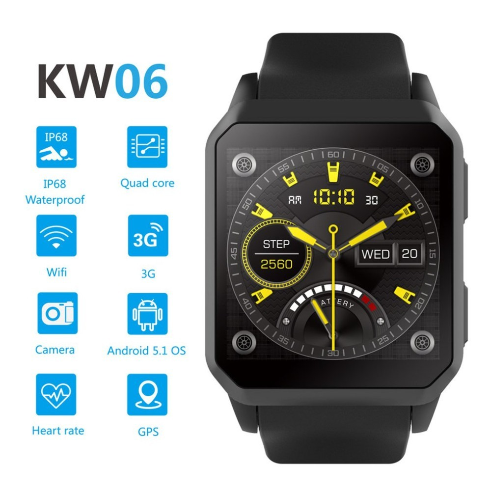 KINGWEAR KW06 Montre Smart Watch 1.54 pouce MTK6580 Quad Core 1.3 ghz Android 5.1 3g Montre Intelligente 460 mah 0.3 mega Pixel Moniteur de Fréquence Cardiaque