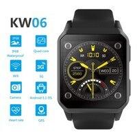 KINGWEAR KW06 Smart Watch 1.54 Inch MTK6580 Quad Core 1.3GHZ Android 5.1 3G Smart Watch 460mAh 0.3 Mega Pixel Heart Rate Monitor
