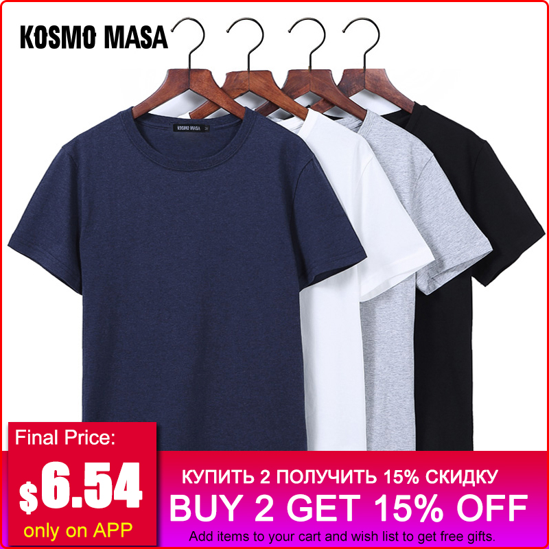 KOSMO MASA O-neck Black Men   T  -  shirt   Cotton Slim Summer   T     Shirt   Male Short Sleeves Casual Tshirts Plus Size 5XL for Men MC0343