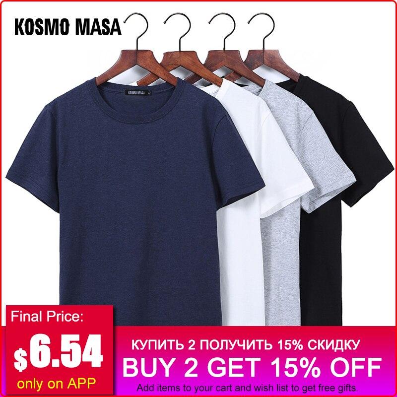 KOSMO MASA cuello negro hombres Camiseta de algodón de verano Slim T camisa manga corta Hombre Casual camisetas Plus tamaño 5XL para los hombres MC0343