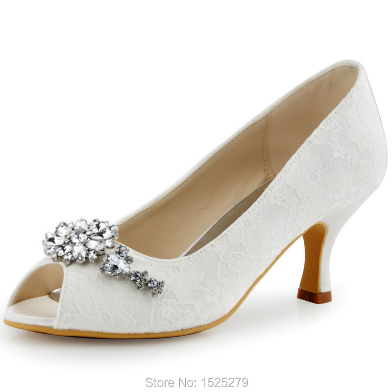 Hp1539 White Ivory Women Shoes Mid Heel Wedding Bridal Shoes