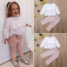 Cute Children Kids Baby Girls Clothes Ruffle Long Sleeve Tops T shirt Blouse with Plaid Pants Leggings Outfits 2Pcs Clothing Set недорого