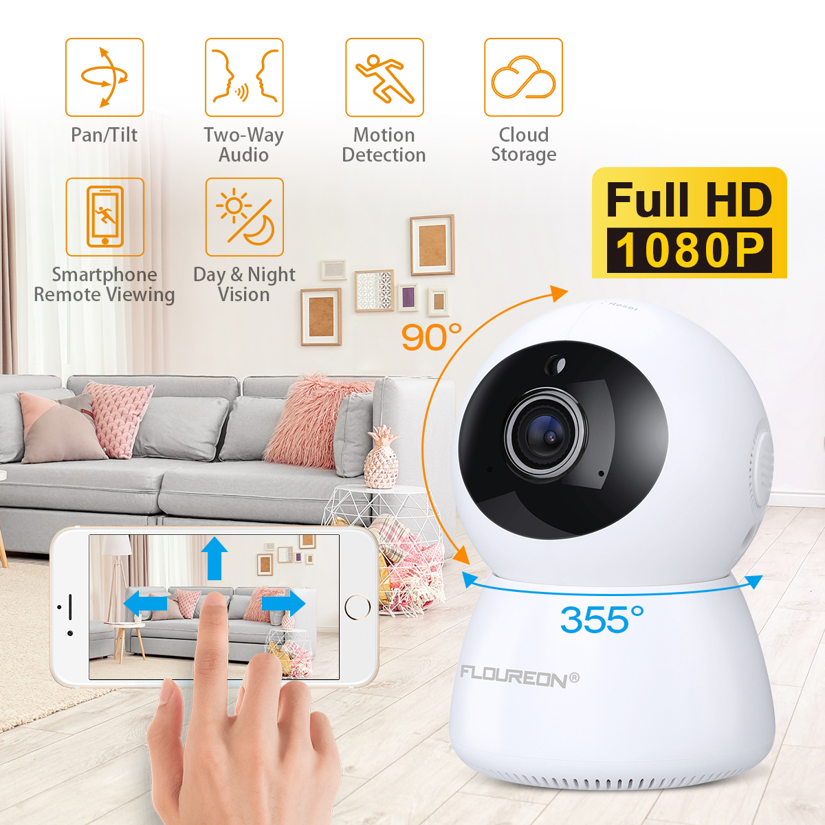 FLOUREON 1080P Wireless Security IP Panoramic Camera Two-Way Audio Night Vision Home Surveillance with Motion Detection for Baby