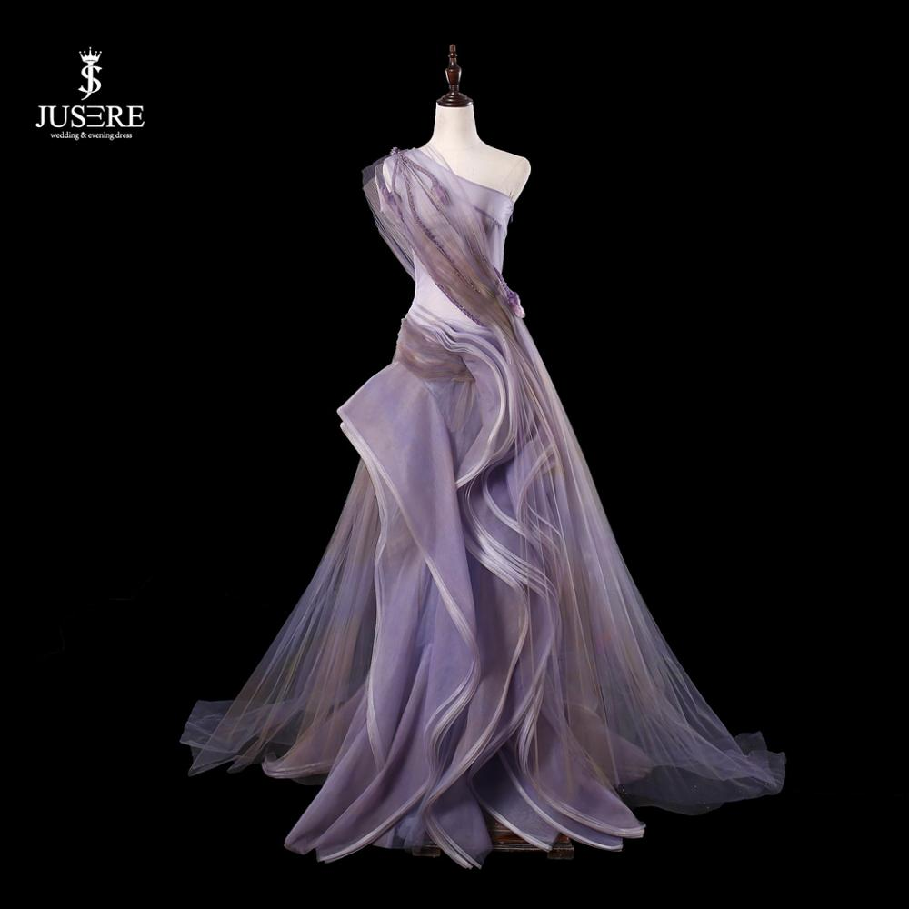 JUSERE Purple One Shoulder Long Evening Dress Hand Beading Sexy See Through Floor Length Evening Dresses Party Gowns