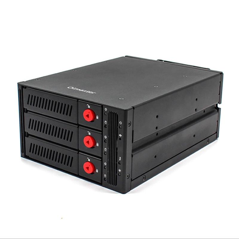 Oimaster 3 Bay Hard Disk Enclosure Rack Data Storage For 2.5 inch/3.5 inch Sata Sdd Hdd For 5.25 inch Drive Bay