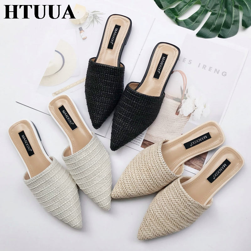 HTUUA New 2019 Spring Summer Women Slippers Weave Flat Shoes Woman Mules Shoes Pointed Toe Half Slippers Outside Slides SX1962