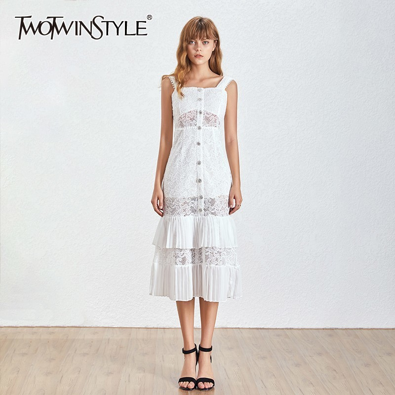 TWOTWINSTYLE Summer Sleeveless Women Dress High Waist Embroidery Hollow Out Slim Ankle Length Dresses Female Fashion 2020 New