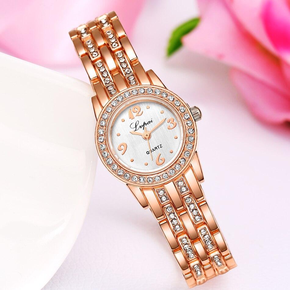 Top Brand Luxury Waches Women Stainless Steel Watch Rose Gold Bracelet Watch Fashion Rhinestone Quartz Watch Women Montre Femme