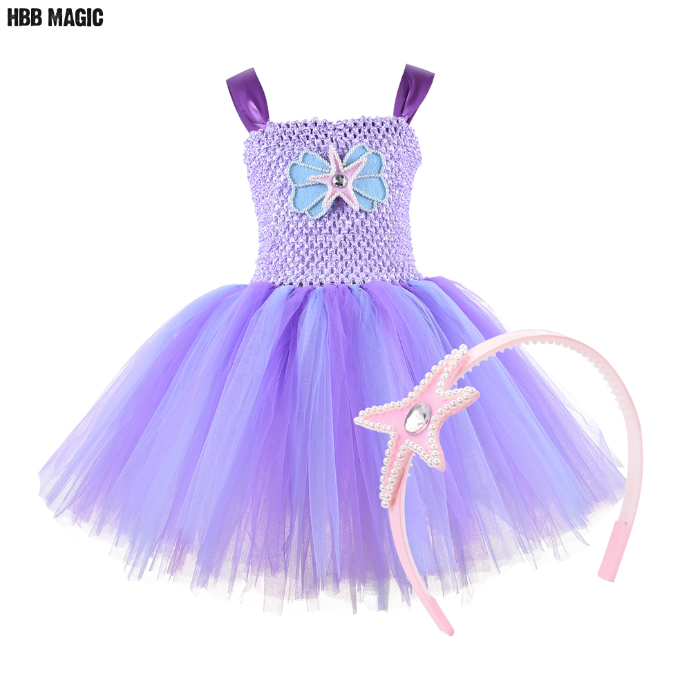 Mermai Tutu Dress with Headband Under The Sea Mermaid Themed Birthday Party Dress for Kids Girl Tulle Princess Costume Outfit
