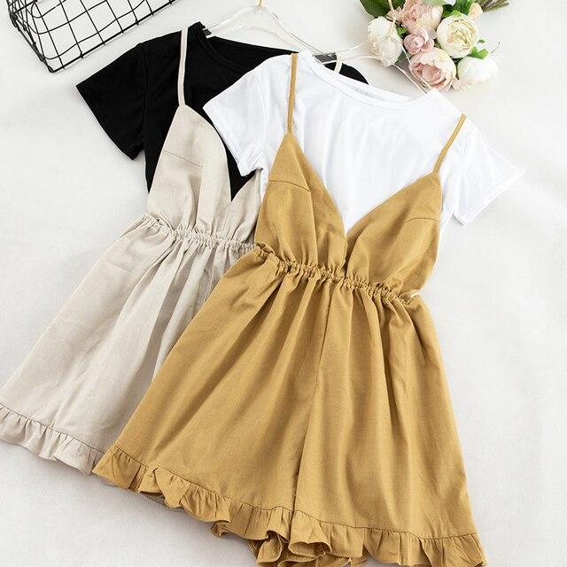 Милый Летний комплект из двух предметов, Женская белая футболка с короткими рукавами + однотонная женская ночная кофта комбинезон, женская ...