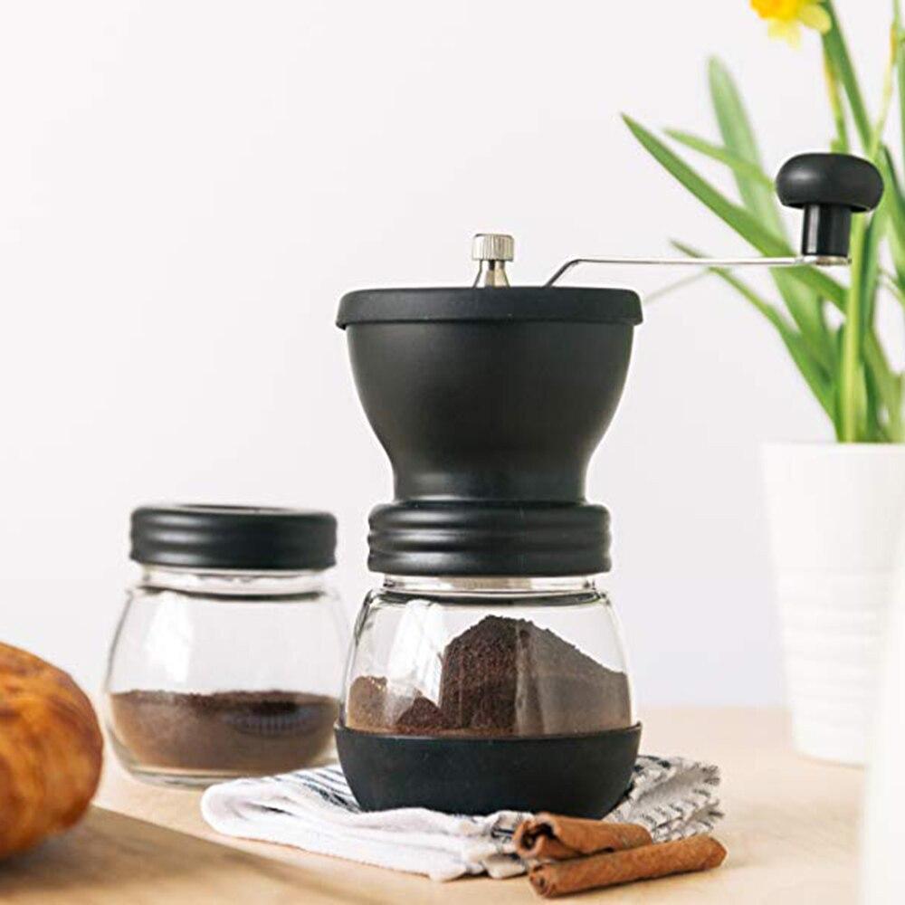 Manual Coffee Grinder Stainless Steel Hand Manual Handmade Coffee Bean Burr Grinders Storage Jar Kitchen Tool Crocus Grinders