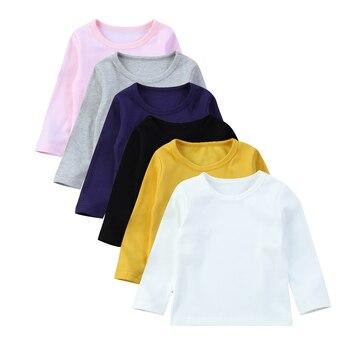 طفل الاطفال طفلة القطن الحلوى اللون طويل كم T قميص قمم المحملة قميص الملابس
