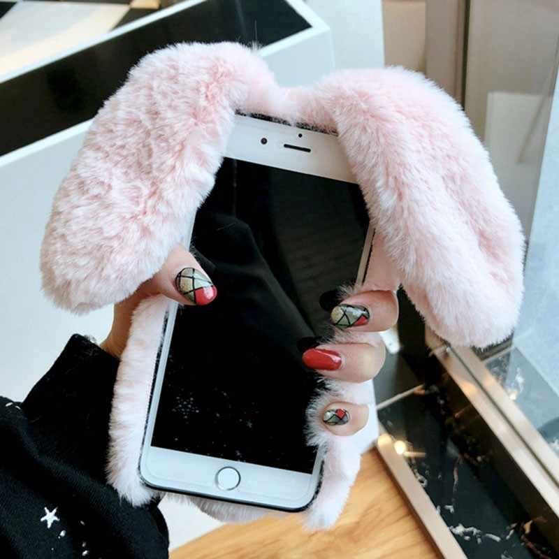 9972df4523160 ... For iPhone 7 Case 3D Cute Rabbit Hairy Warm Fur Bling Rhinestone Plush  Bunny Case Cover