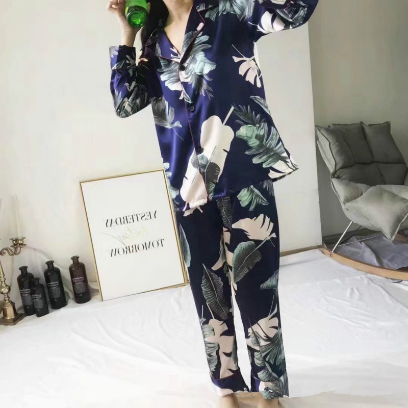 2019 Summer Flower Print 2 PCS Women   Pajamas     Sets   Sleepwear Pyjama with Pants Sexy Pyjama Nightwear Satin Silk Negligee
