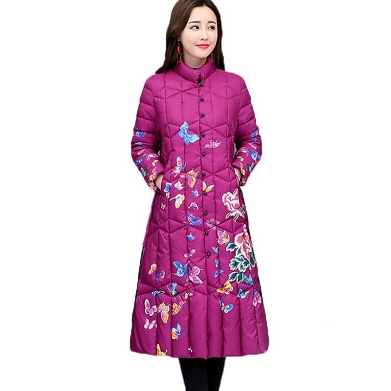 Casual Plus Size Long Jacket Woman 4XL 2018 Chinese National Style   Parka   Cotton Winter Coat Women Print Vintage Female A583