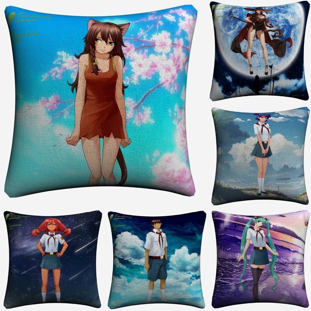 Everlasting Summer Anime Character Decorative Cotton Linen Cushion Cover 45x45cm Throw Pillow Case For Sofa Home Decor Almofada