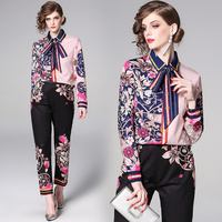 2019 Fashion Chain Printed Suit Sets 2 Piece Bow Collar Full Sleeve Shirt Top + Pants Sets For Women Runway designer print