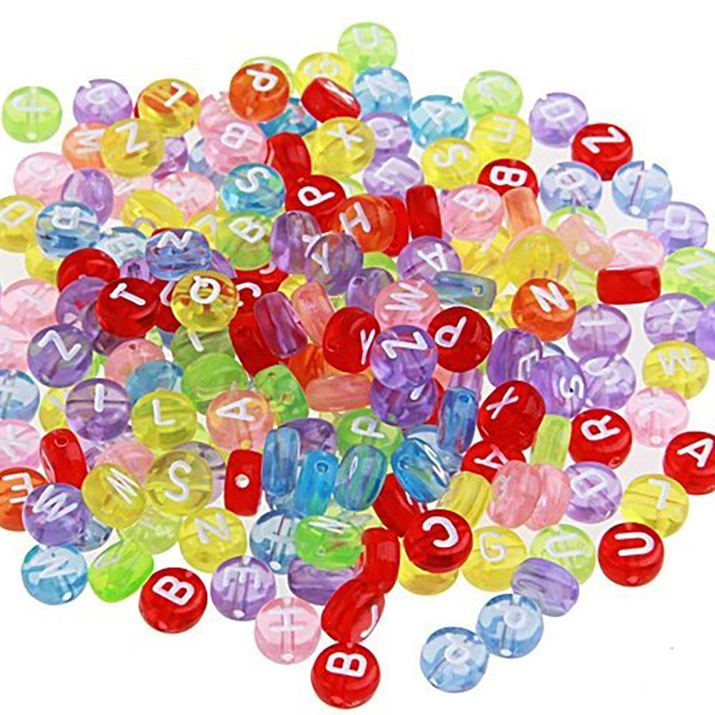 200 Pcs Round Plastic Beads With Alphabet Letters 7 Mm Multi-Coloured