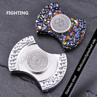 Classic Two leaf Aerolite Pit Fighting EDC Hand Spinner Carving Metal Stainless Steel Fidget Finger Gyro For Autism ADHD Toy