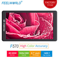 FEELWORLD F570 5.7 inch Camera Field Monitor 4K HDMI 1400:1 Contrast LCD IPS Full HD 1920x1080 External Monitor for Nikon Camera