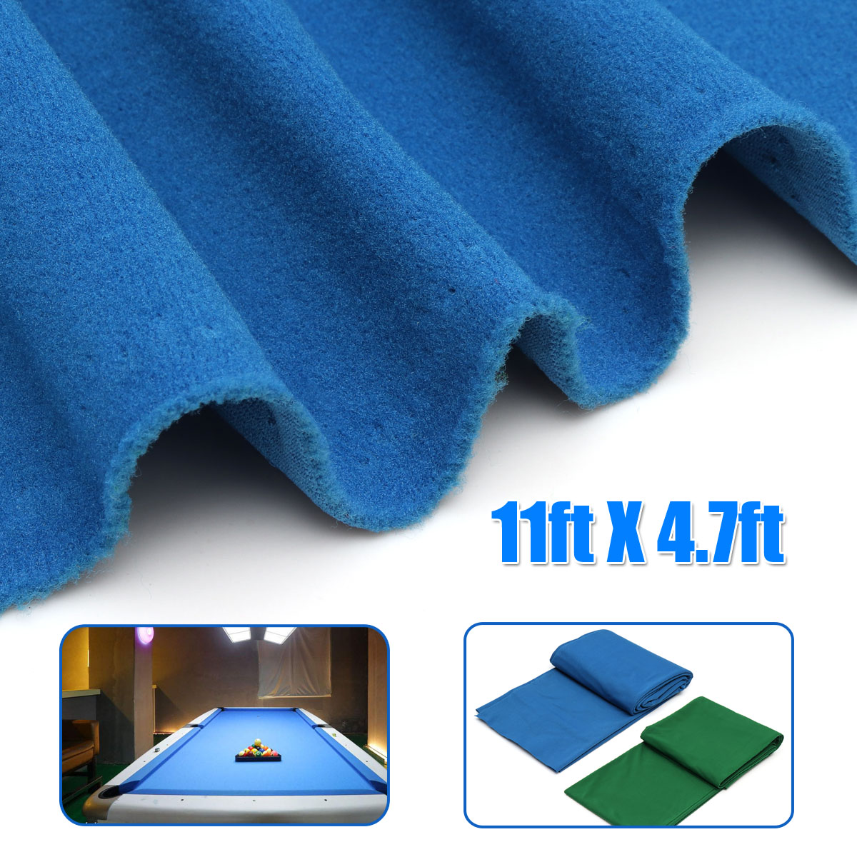 11ftX4.7ft Green/Blue Pool Eight Ball Billiard Pool Table Cloth for American billiards Snooker Accessories 340x145cm