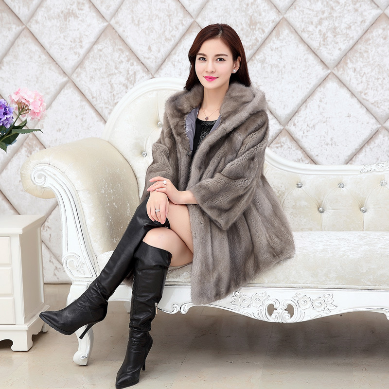 Expressive Joeyoung Winter Women's Artificial Mink Fur Jacket With Cap Long Coat Straight Nine Sleeve Outer Fashion Warm Outerwear Comfortable And Easy To Wear