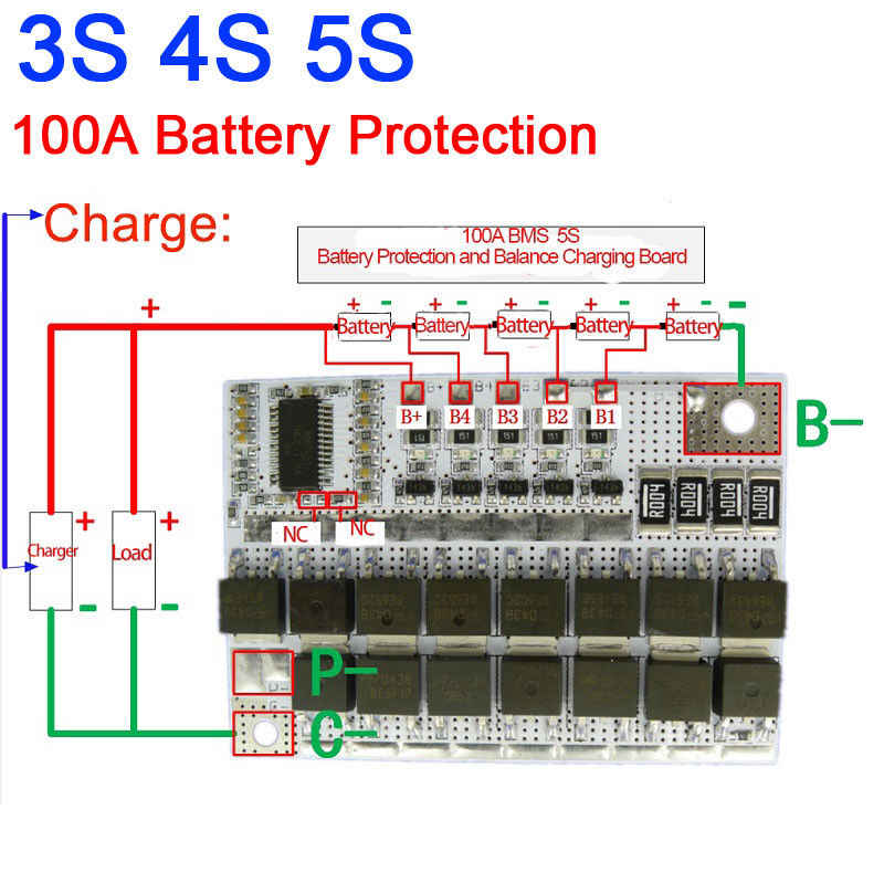 100A BMS MOS 3S 4S 5S CELLS LiFePO4 lithium iron phosphate Battery Protection Balance Charging Board 3.2V