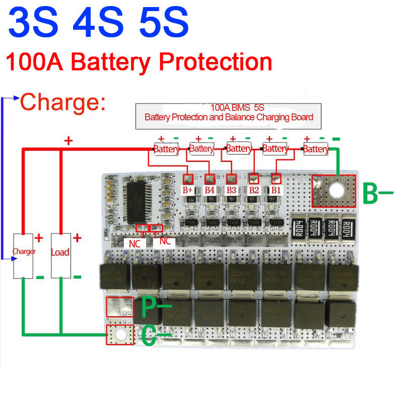 <font><b>100A</b></font> <font><b>BMS</b></font> MOS <font><b>3S</b></font> 4S 5S CELLS LiFePO4 lithium iron phosphate Battery Protection Balance Charging Board 3.2V image