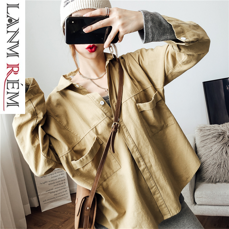 LANMREM 2019 New Fashion Loose Big Size Blouse Female's Long Sleeve Turn Down Collar Double Pockets Shirt Vestido YF806
