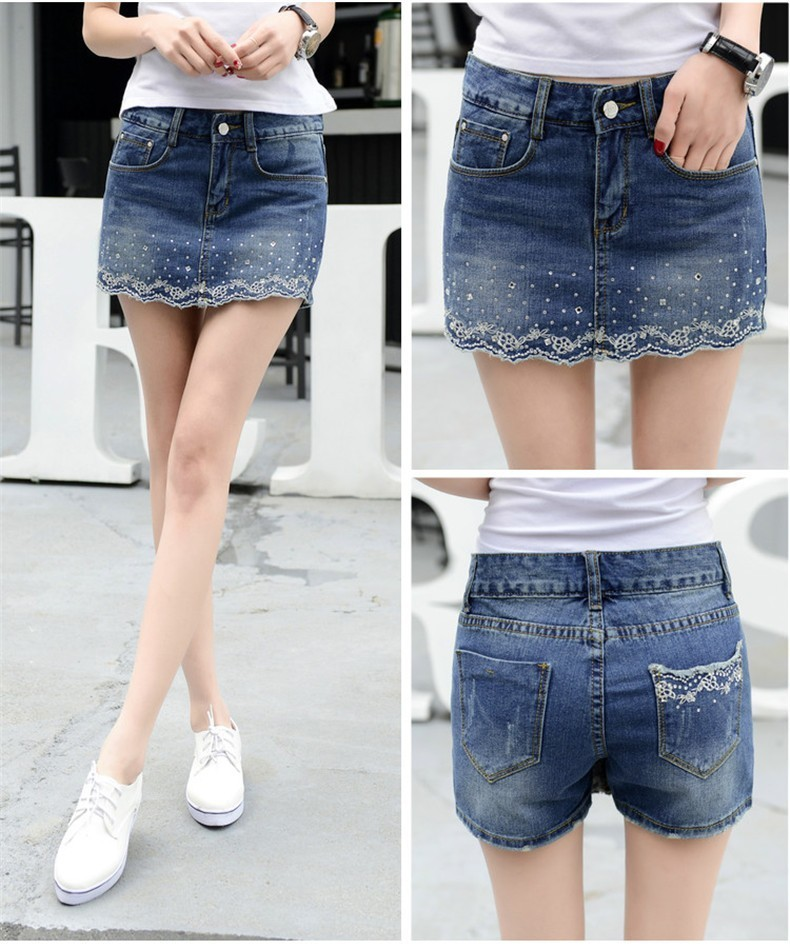 Fashion Embroidery Denim <font><b>Shorts</b></font> Skirts <font><b>Women</b></font> Summer <font><b>Sexy</b></font> <font><b>Mini</b></font> High Waist Blue Jean <font><b>Short</b></font> image