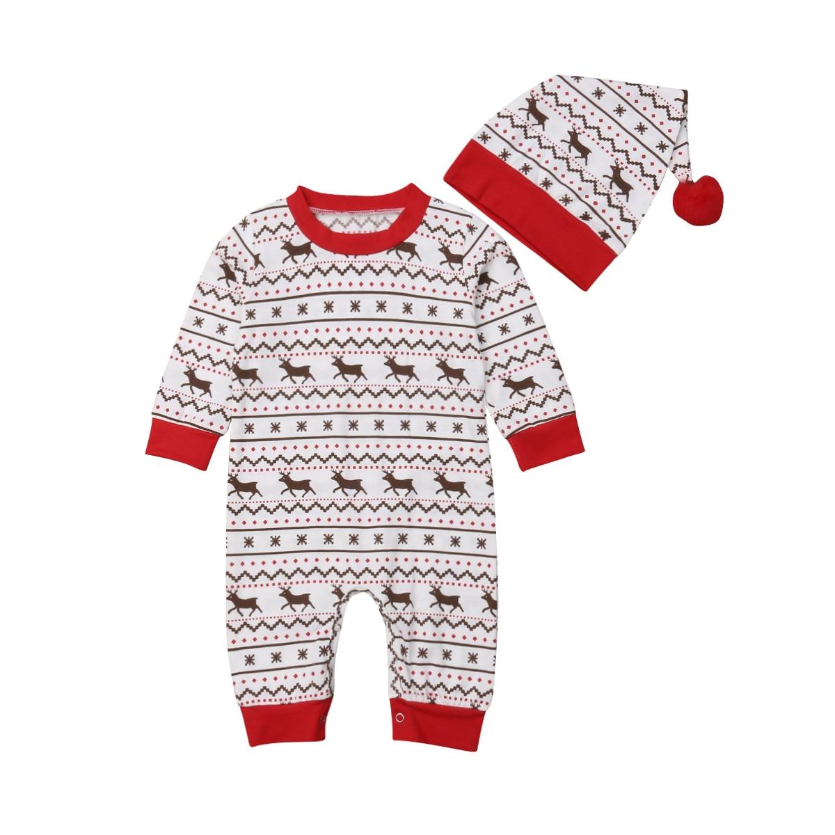 2PCS Christmas Set Unisex Newborn Baby Boys Girls Deer Snowflake Romper Jumpsuit + Hat Xmas Outfit