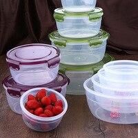 4 Pcs/set Fresh keeping Box Kitchen Utensils Food Container Environmently Food Grade Plastic Bento Plastic Silica Gel Circular