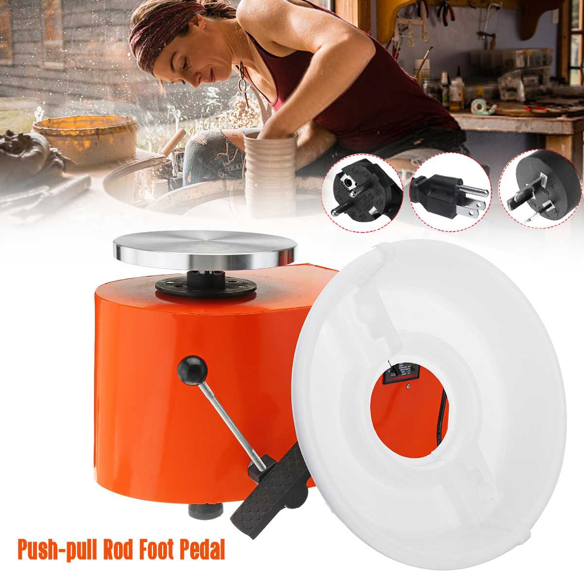 110/220 V 350 W Tour De Potier Amovible Machine Travail En Céramique Clay Craft Art Pied Pédale US/AU /UE Plug Flexible Détachable Lisse