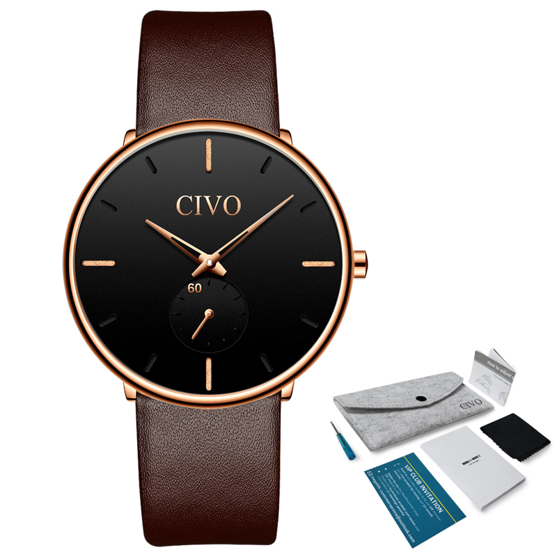 2019 CIVO Sport Mens Watches Top Brand Luxury Gold Quartz Watch Men Leather Waterproof Military Wrist Watch Relogio Masculino in Quartz Watches from Watches