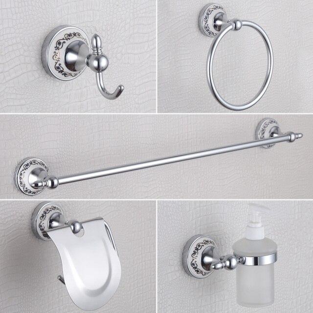 Charmant Chrome Bathroom Accessories Blue And White Luxury Soap Dispenser , Towel  Rail,Coat Hook,Towel Ring,Toilet Paper Holder 5 Pcs/set