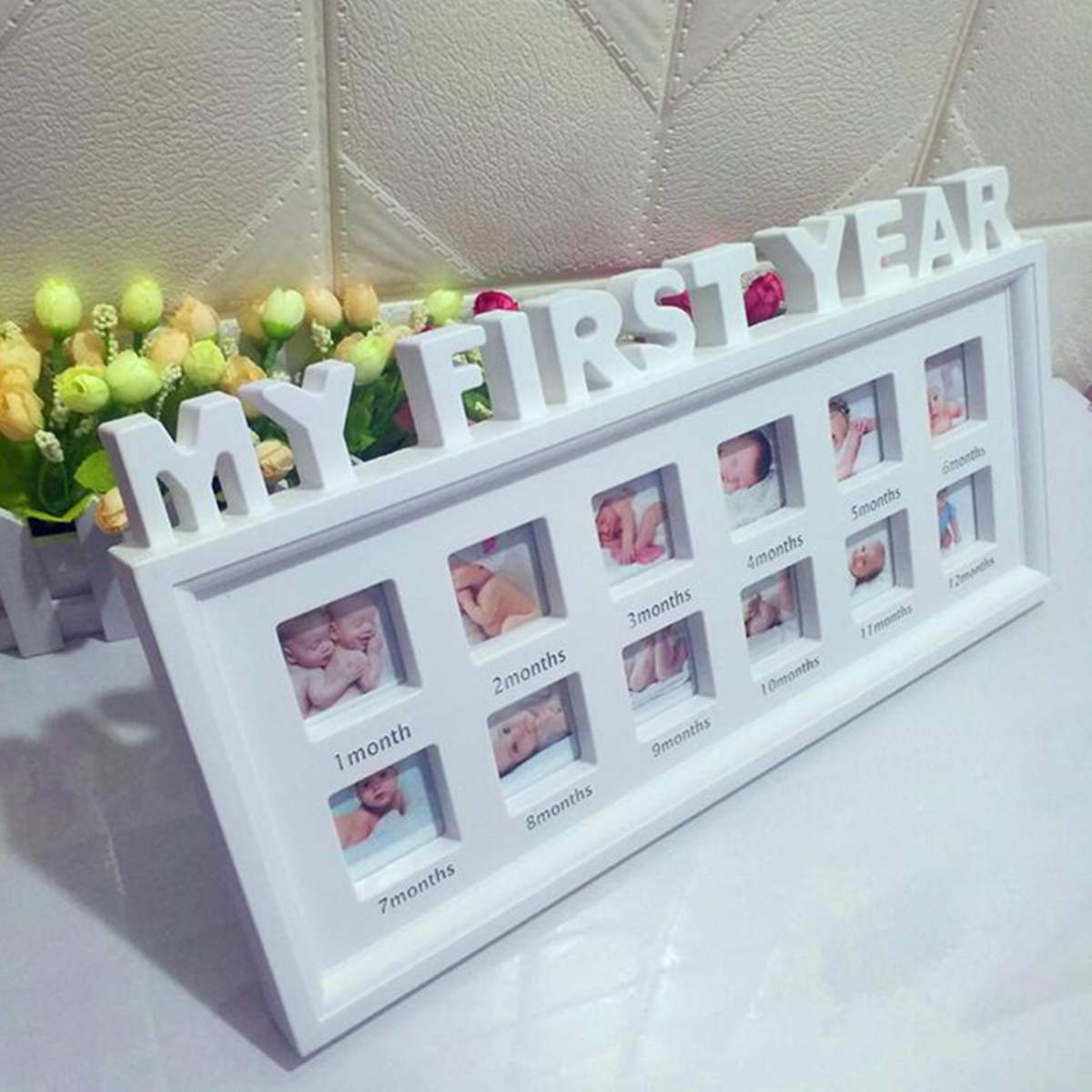 Cute Baby Photo frame DIY handprint or footprint 12 Months Photo Frame Baby Boy Girl My 1 One Year White Blue Pink Home DecorCute Baby Photo frame DIY handprint or footprint 12 Months Photo Frame Baby Boy Girl My 1 One Year White Blue Pink Home Decor