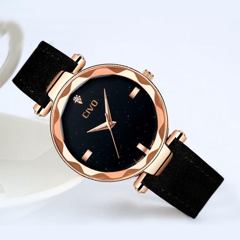 CIVO Luxury Top Brand Women Quartz Watch Wristwatch Ladies Waterproof Genuine Leather Watches For Male Clock