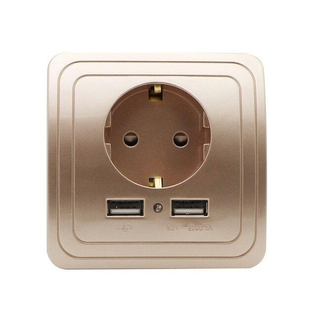 Prise ue Port USB double prise de courant | 2000mA 16A, adaptateur mural pour maison intelligente, prise de charge avec adaptateur mural Usb