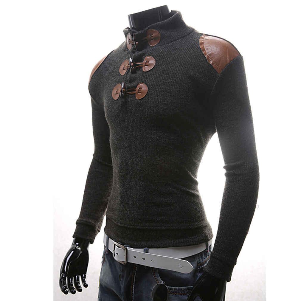 2018 새로운 스타일 패션 뜨거운 따뜻한 남자 긴 소매 점퍼 캐주얼 니트 스웨터 슬림 맞는 풀 오버 터틀넥