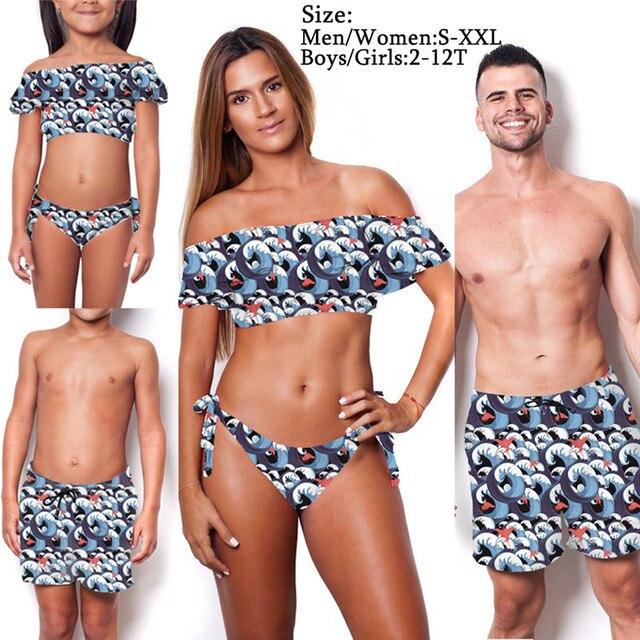 0b5ea7a029 Fashion Family Matching Women Kids Girls Swimsuit Sets Mother Daughter  Father Son Summer Beach Bikini Set Swimwear Cotton Outfit