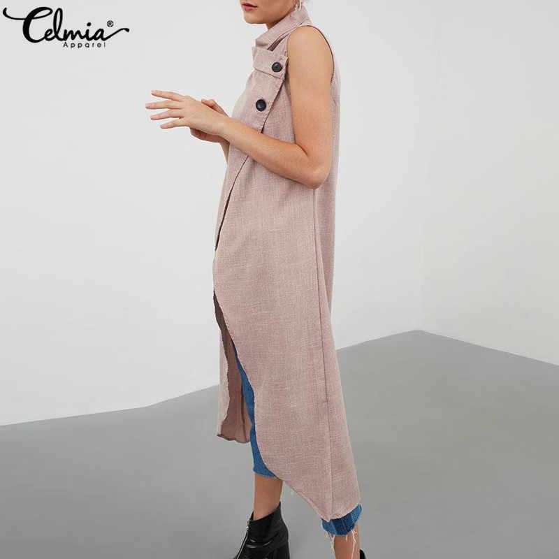 Celmia Винтаж Высокое разделение для женщин Блузка Лето 2019 г. асимметричные топы без рукавов пуговицы повседневное длинная рубашка свободные Blusas Плюс разме